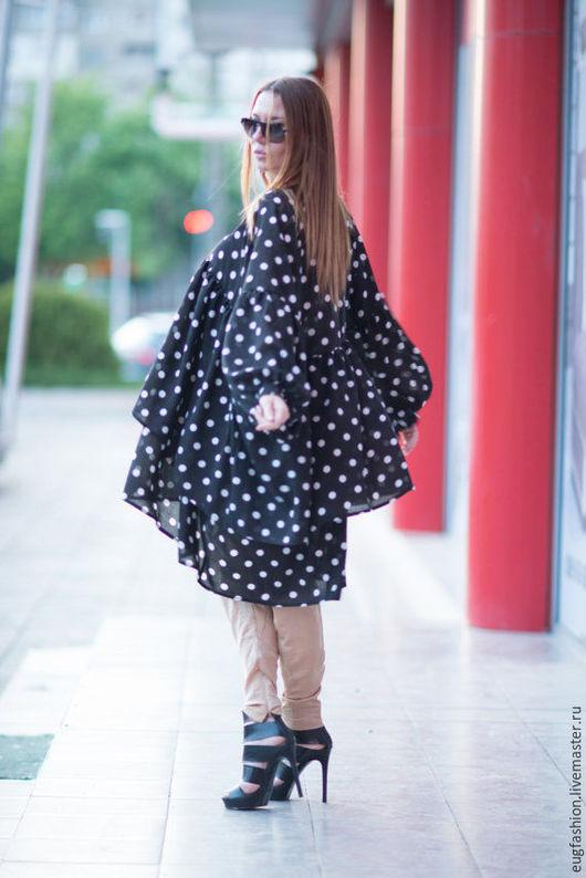 Блузка. Блузка из хлопка. Хлопок с вискозой. Блузка. Модная блузка. Ручная работа. Блузка в горошек. Блузка.