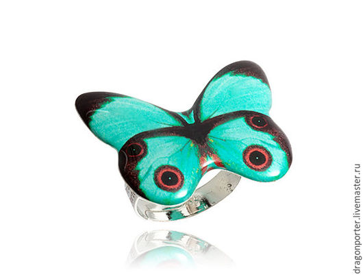 """Кольца ручной работы. Ярмарка Мастеров - ручная работа. Купить Кольцо лазурное модное для девочки """"Крылья бабочки"""". Handmade. Лазурный"""
