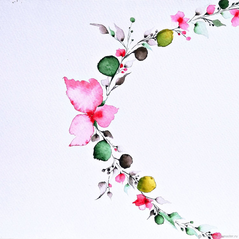 """Акварель для гостиной """"Цветочное ожерелье"""", Картины, Москва,  Фото №1"""