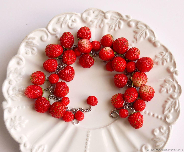 Bracelet 'Wild Strawberries', Bead bracelet, Troitsk,  Фото №1