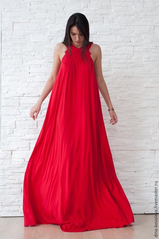 Платья ручной работы. Ярмарка Мастеров - ручная работа. Купить Сарафан ярко-красный. Handmade. Однотонный, лед, кровь