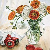 Картины и панно ручной работы. Ярмарка Мастеров - ручная работа Букет садовых лютиков. Handmade.