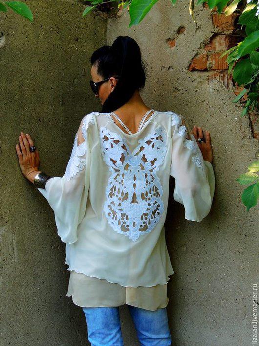 Блузки ручной работы. Ярмарка Мастеров - ручная работа. Купить Блуза-туника из шифона (№96). Handmade. Бежевый, блузка нарядная