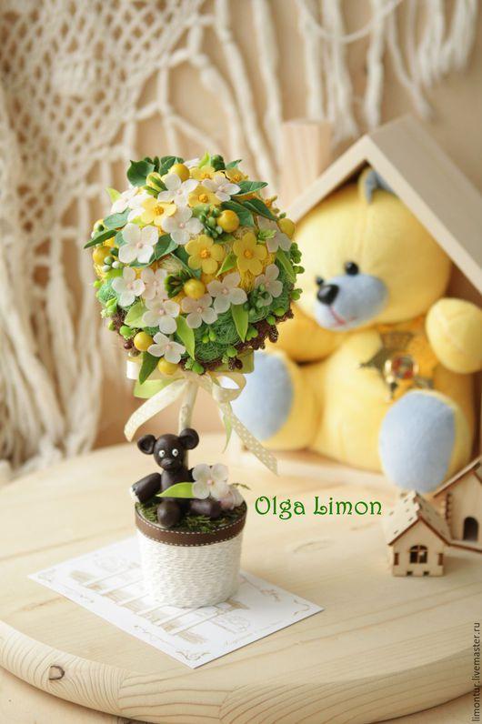 """Топиарии ручной работы. Ярмарка Мастеров - ручная работа. Купить Топиарий """"Bear Mr. Bean"""". Handmade. Желтый, Дерево счастья"""