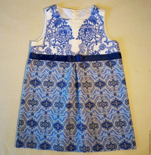 Одежда для девочек, ручной работы. Ярмарка Мастеров - ручная работа. Купить Детское платье и повязка на голову синие кружева. Handmade.