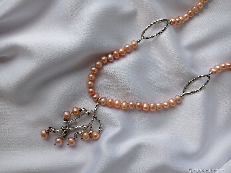 Колье из натурального жемчуга розового цвета, Колье, Рузаевка,  Фото №1