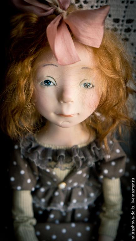 Коллекционные куклы ручной работы. Ярмарка Мастеров - ручная работа. Купить Болтушка в горошек. Handmade. Коричневый, трессы
