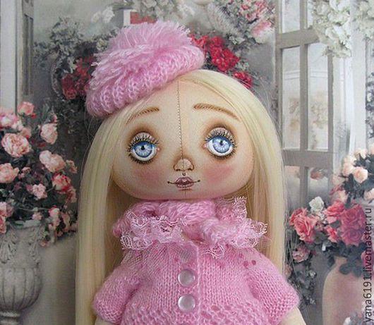 Куклы тыквоголовки ручной работы. Ярмарка Мастеров - ручная работа. Купить Текстильная кукла- тыквоголовка. Handmade. Бледно-розовый, подставка