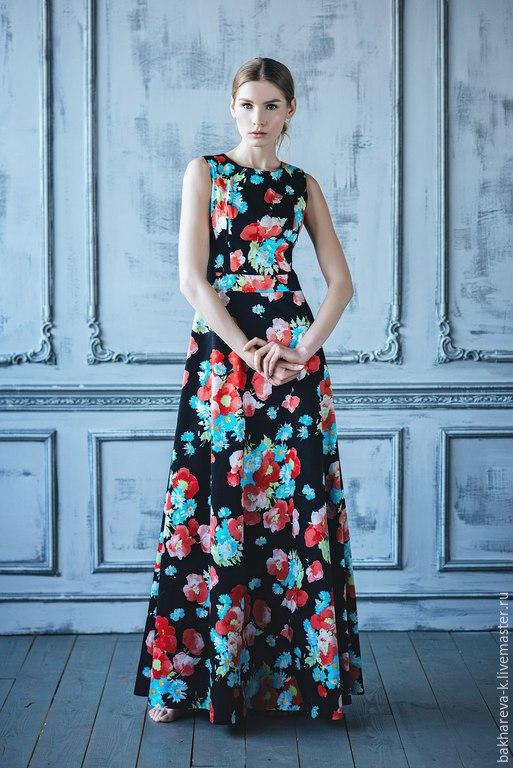 Платья ручной работы. Ярмарка Мастеров - ручная работа. Купить Платье макси цветочный принт. Handmade. Разноцветный, летнее платье