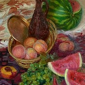 """Картины и панно ручной работы. Ярмарка Мастеров - ручная работа Картина """" Натюрморт с арбузом"""" холст масло. Handmade."""