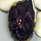 Украшения handmade. Livemaster - original item Pendant: Black Orchid-custom painting – women`s mascot. Handmade.