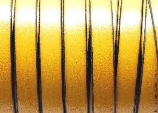 Для украшений ручной работы. Ярмарка Мастеров - ручная работа. Купить Кожаный шнур плоский 10 мм желтый. Handmade.