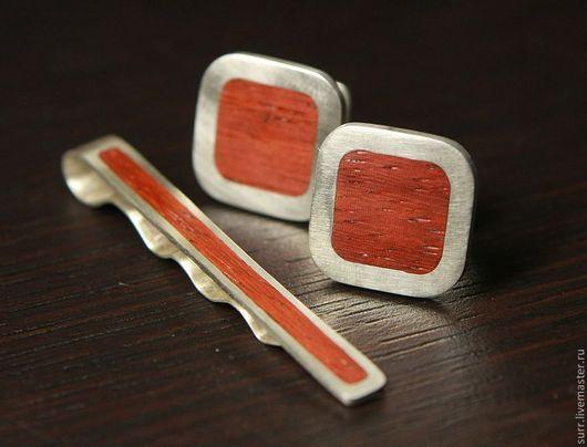 Запонки ручной работы. Ярмарка Мастеров - ручная работа. Купить Запонки и зажим для галстука с падуком. Handmade. Ярко-красный, запонки