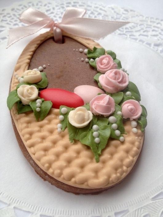 Кулинарные сувениры ручной работы. Ярмарка Мастеров - ручная работа. Купить Пасхальные пряники, яйцо-корзиночка. Handmade. Пасха