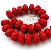 Материалы для творчества ручной работы. Ярмарка Мастеров - ручная работа Коралл 25 бусин набор красный резной,  рондели. Handmade.