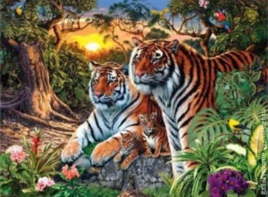 Другие виды рукоделия ручной работы. Ярмарка Мастеров - ручная работа. Купить Картина-раскраска по номерам Амурские тигры. Handmade.