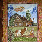 """Картины и панно ручной работы. Ярмарка Мастеров - ручная работа Панно """"  Домик в деревне"""". Handmade."""