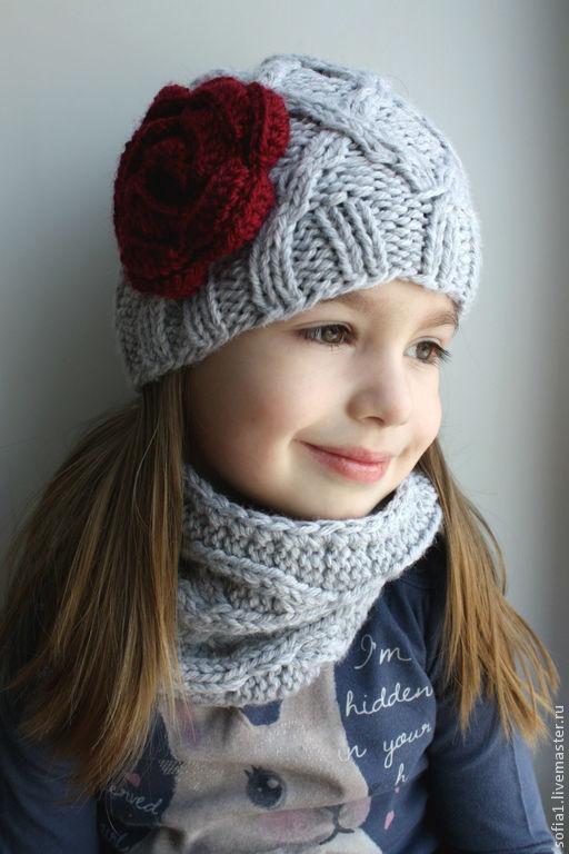 Шапки и шарфы ручной работы. Ярмарка Мастеров - ручная работа. Купить Комплект: шапочка и снуд.. Handmade. Серый, шапочки вязанные