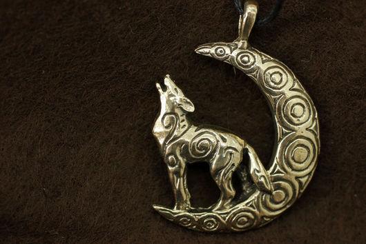 Волк, воющий волк кулон купить украшение волки бронза подвеска с волком кулон авторские украшения подарок для мужчины фэнтези волк