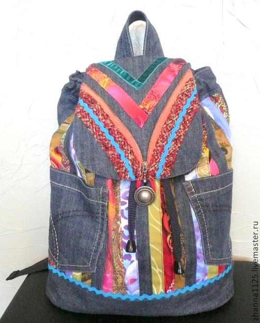 Джинсовый рюкзак , сумки и рюкзаки ручной работы, автор Zhanna Petrakova Atelier Moscow