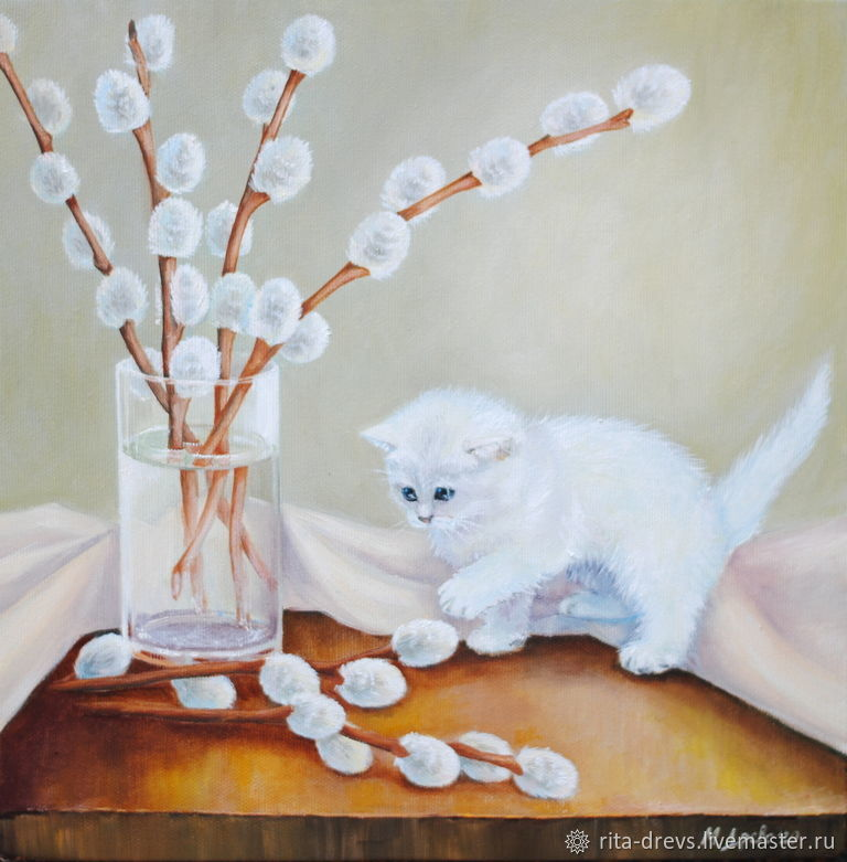 Oil painting White Kitten, Pictures, Rostov-on-Don,  Фото №1