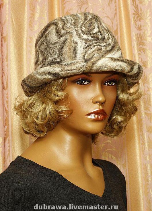 "Шляпы ручной работы. Ярмарка Мастеров - ручная работа. Купить Шляпа Федора  ""Агатовая "". Handmade. Валяная шляпа, абстрактный"