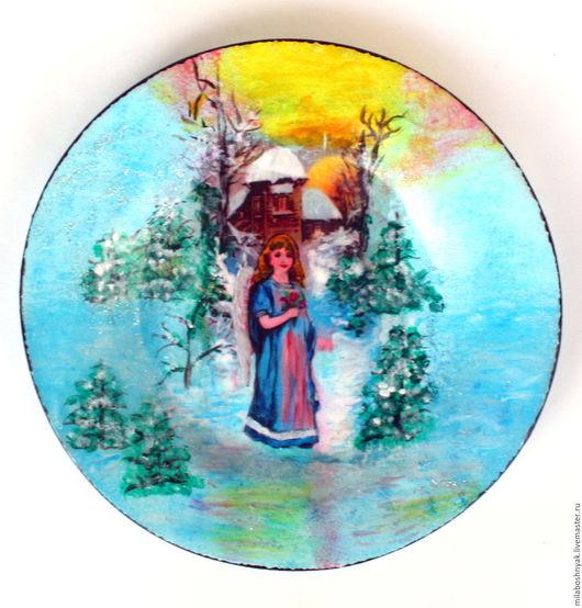 """Декоративная посуда ручной работы. Ярмарка Мастеров - ручная работа. Купить Тарелка декоративная """"Ангелок с цветами"""" и """"Ангелок с фонариком"""". Handmade."""