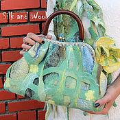 Сумки и аксессуары ручной работы. Ярмарка Мастеров - ручная работа сумка валяная на шелке ЖЕЛТЫЕ ЦВЕТЫ  нуновойлок,  войлочная сумка. Handmade.