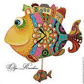 """Для дома и интерьера ручной работы. Ярмарка Мастеров - ручная работа Часы с маятником """"Чудо-рыбы"""". Handmade."""