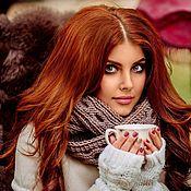 """Аксессуары ручной работы. Ярмарка Мастеров - ручная работа """"Карамель"""", шарф снуд вязаный женский, шарф вязаный женский кориневый. Handmade."""