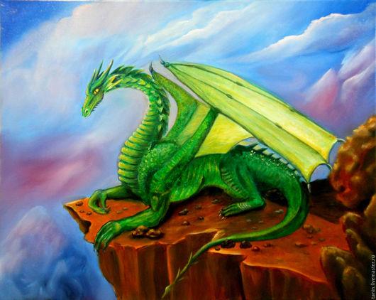 Фантазийные сюжеты ручной работы. Ярмарка Мастеров - ручная работа. Купить Зеленый дракон. Handmade. Зеленый, картина маслом, драконы