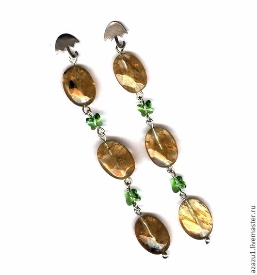 Earrings handmade. Livemaster - handmade. Buy Earrings citrine, malachite, Swarovski, etc..Agate, earrings, lemon, green, green-yellow