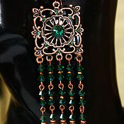 Украшения handmade. Livemaster - original item Long copper earrings in the Oriental style Medina. Handmade.