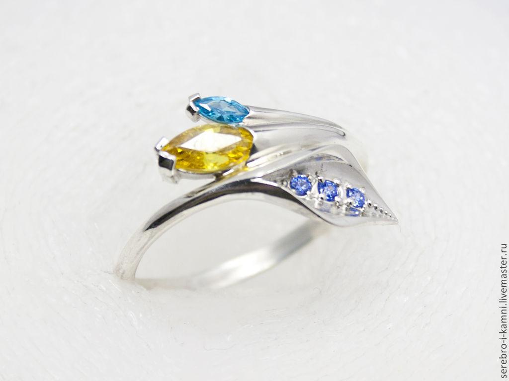 Кольца ручной работы. Ярмарка Мастеров - ручная работа. Купить серебряное кольцо Спатифилум (серебро 925, золото 585). Handmade.