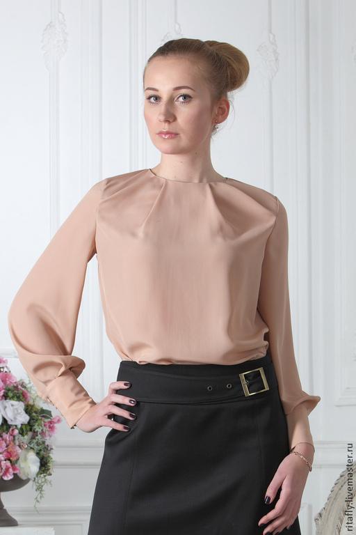 Японская шелковая блуза длинные рукава 78