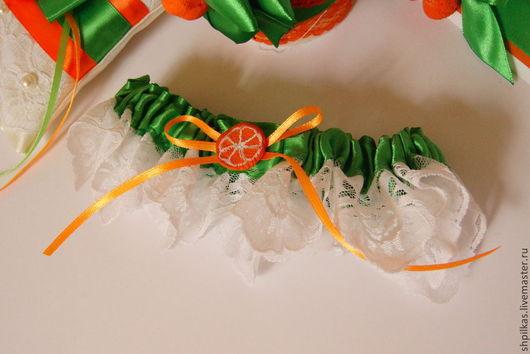 Одежда и аксессуары ручной работы. Ярмарка Мастеров - ручная работа. Купить Подвязка невесты для Апельсиновой свадьбы. Handmade. Оранжевый