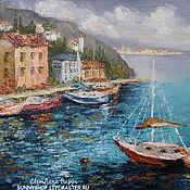 """Картины и панно ручной работы. Ярмарка Мастеров - ручная работа Картина маслом """"Средиземноморье. Пейзаж с яхтами"""" в раме. Handmade."""