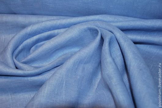 """Шитье ручной работы. Ярмарка Мастеров - ручная работа. Купить Лён 100% """"Незабудка"""" умягчённый. Handmade. Голубой, ткань для шитья"""