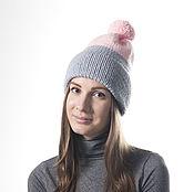 Аксессуары handmade. Livemaster - original item Gray and Pink Cozy Knit Hat for Women, Hand Knitting Cloche. Handmade.