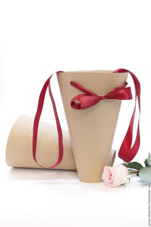 Украшения для цветов ручной работы. Ярмарка Мастеров - ручная работа. Купить Конус для букетов. Handmade. Коричневый, крафт, крафт упаковка