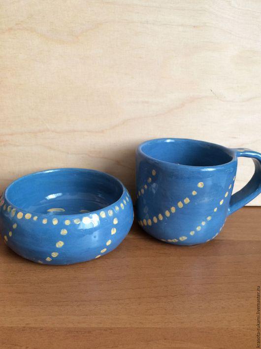 Кружки и чашки ручной работы. Ярмарка Мастеров - ручная работа. Купить Кружка и чашка Северное Сияние. Handmade. Голубой
