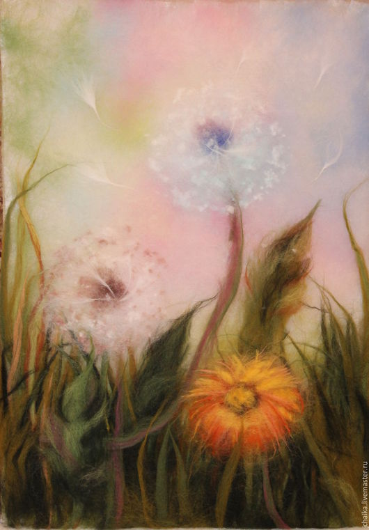 Картины цветов ручной работы. Ярмарка Мастеров - ручная работа. Купить Воздушные одуванчики. Handmade. Комбинированный, шерстяная картина