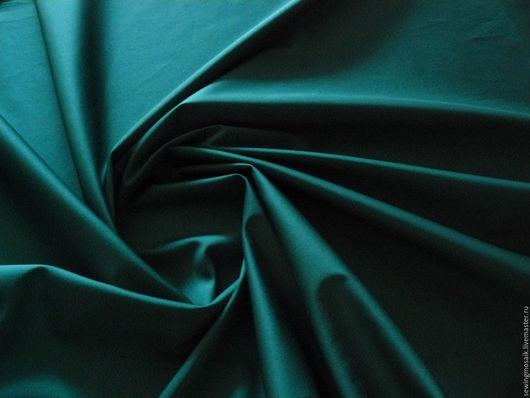 Шитье ручной работы. Ярмарка Мастеров - ручная работа. Купить Итальянская ткань сатин стрейч хлопковый  изумрудного цвета.. Handmade.