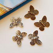 Материалы для творчества ручной работы. Ярмарка Мастеров - ручная работа Подвеска бабочка 19х15 мм Два цвета. Handmade.