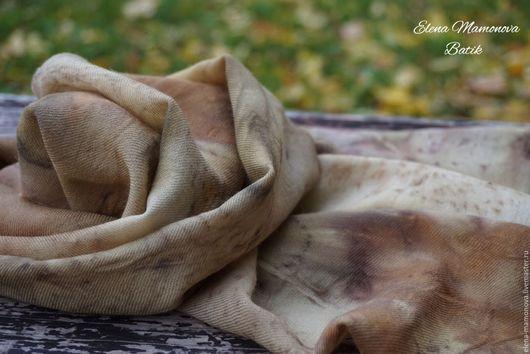 Шарфы и шарфики ручной работы. Ярмарка Мастеров - ручная работа. Купить Кашемировый шарф экопринт Осенний лес, шерсть с кашемиром(10%). Handmade.