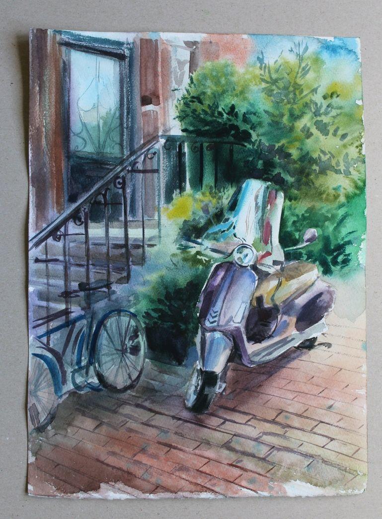 """Акварельный рисунок """" У парадной"""", Картины, Санкт-Петербург,  Фото №1"""