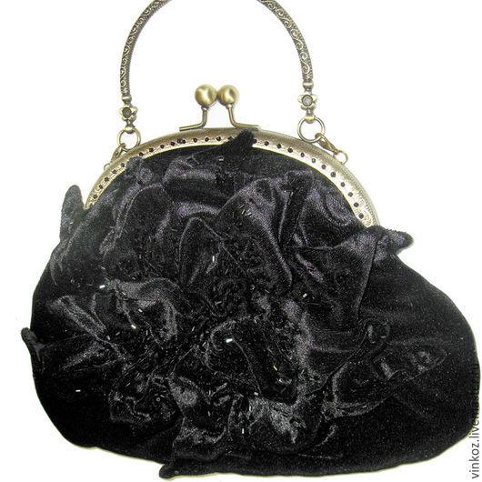 Женские сумки ручной работы. Ярмарка Мастеров - ручная работа. Купить Сумка черная бархотная с фермуаром , вечерняя сумка. Handmade.