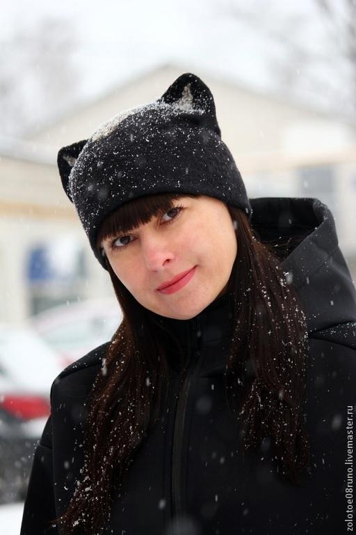 """Шапки ручной работы. Ярмарка Мастеров - ручная работа. Купить Шапочка """"Black cat"""". Handmade. Черный, шапка с ушками"""