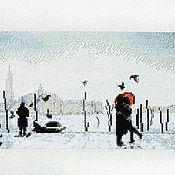 Картины и панно ручной работы. Ярмарка Мастеров - ручная работа Прогулка по набережной. Вышитая картина в подарок.. Handmade.
