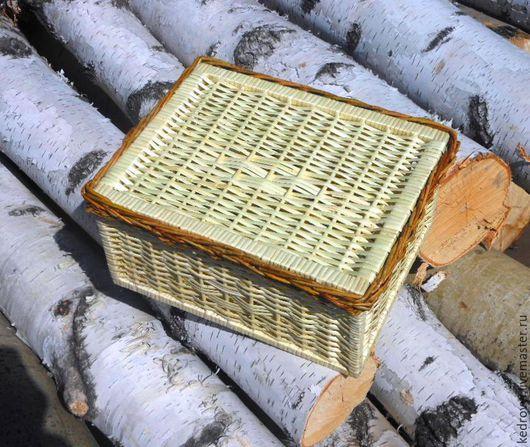 Корзины, коробы ручной работы. Ярмарка Мастеров - ручная работа. Купить корзина плетёная формата А-4 с крышкой. Handmade.